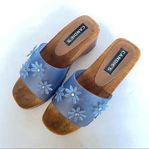 Vintage Candies Womens 6 Jelly Clogs Flower Wood